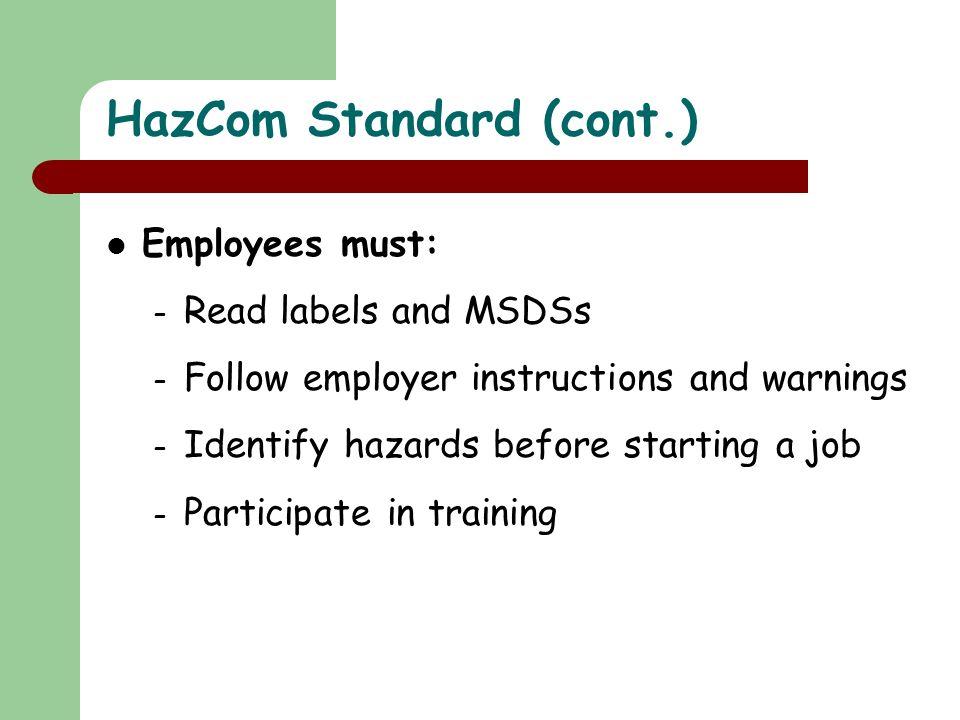HazCom Standard (cont.)