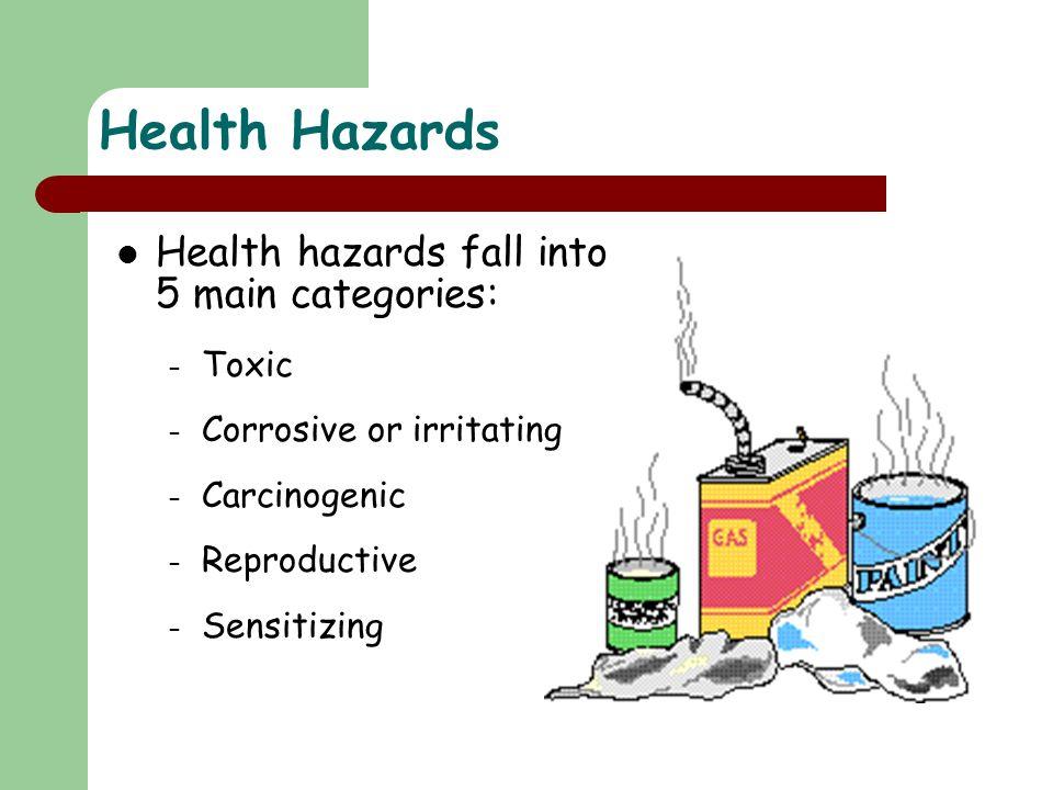 Health Hazards Health hazards fall into 5 main categories: Toxic