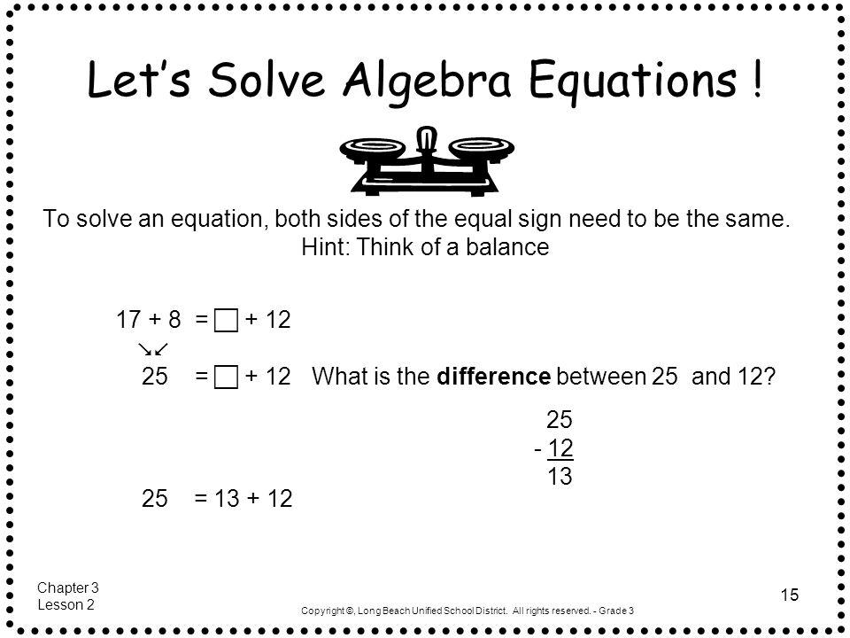 Let's Solve Algebra Equations !