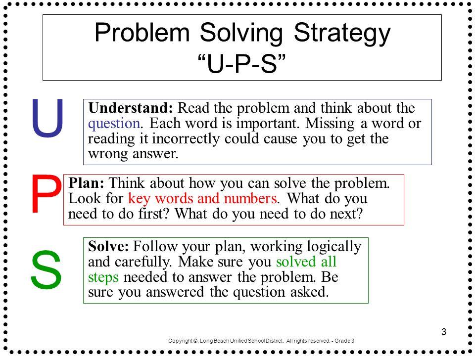 Problem Solving Strategy U-P-S