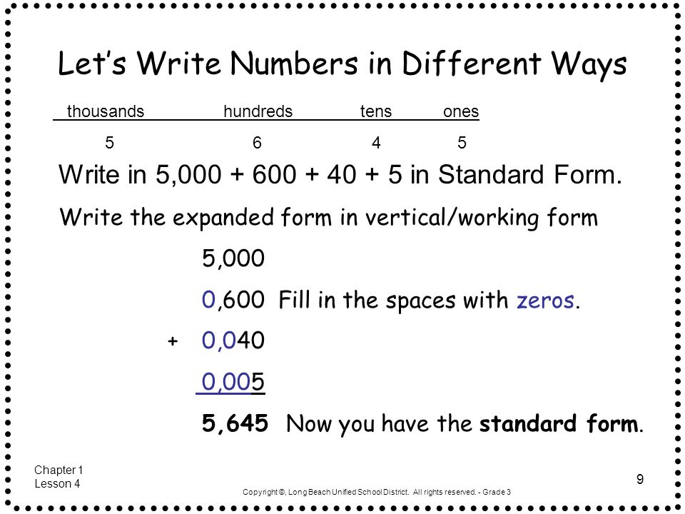 different ways to write numbers Name different ways to write numbers write the number another way lesson 15 common core standard cc2nbt3 understand place value forty-one.