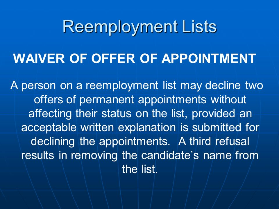 WAIVER OF OFFER OF APPOINTMENT