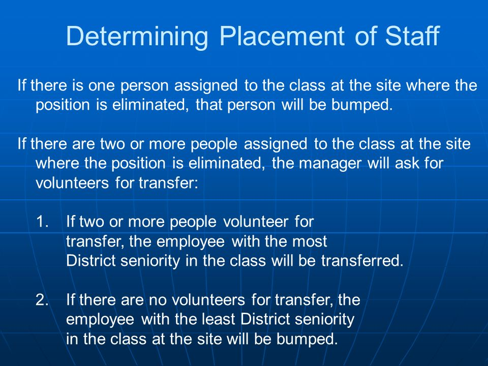 Determining Placement of Staff