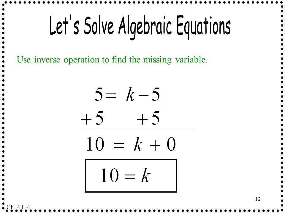 Let s Solve Algebraic Equations