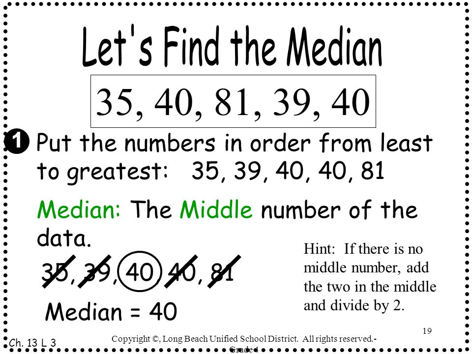 Let s Find the Median35, 40, 81, 39, 40. Put the numbers in order from least to greatest: 35, 39, 40, 40, 81.