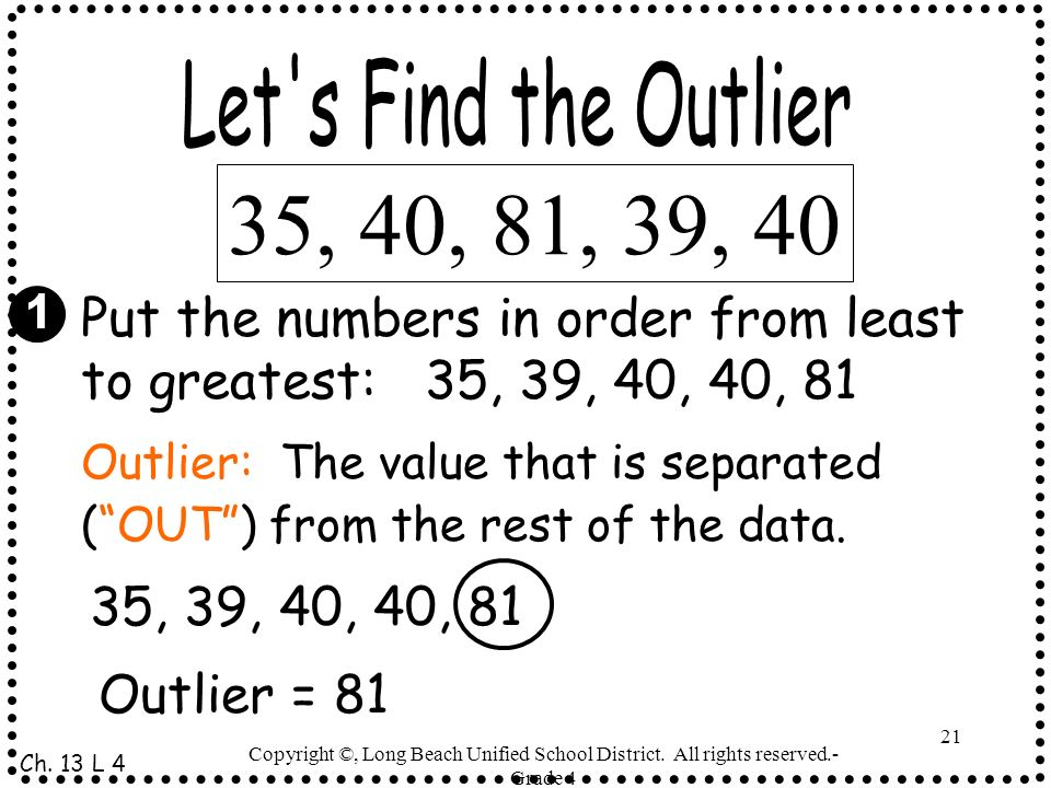 Let s Find the Outlier 35, 40, 81, 39, 40. Put the numbers in order from least to greatest: 35, 39, 40, 40, 81.