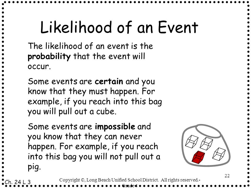 Likelihood of an Event The likelihood of an event is the probability that the event will occur.