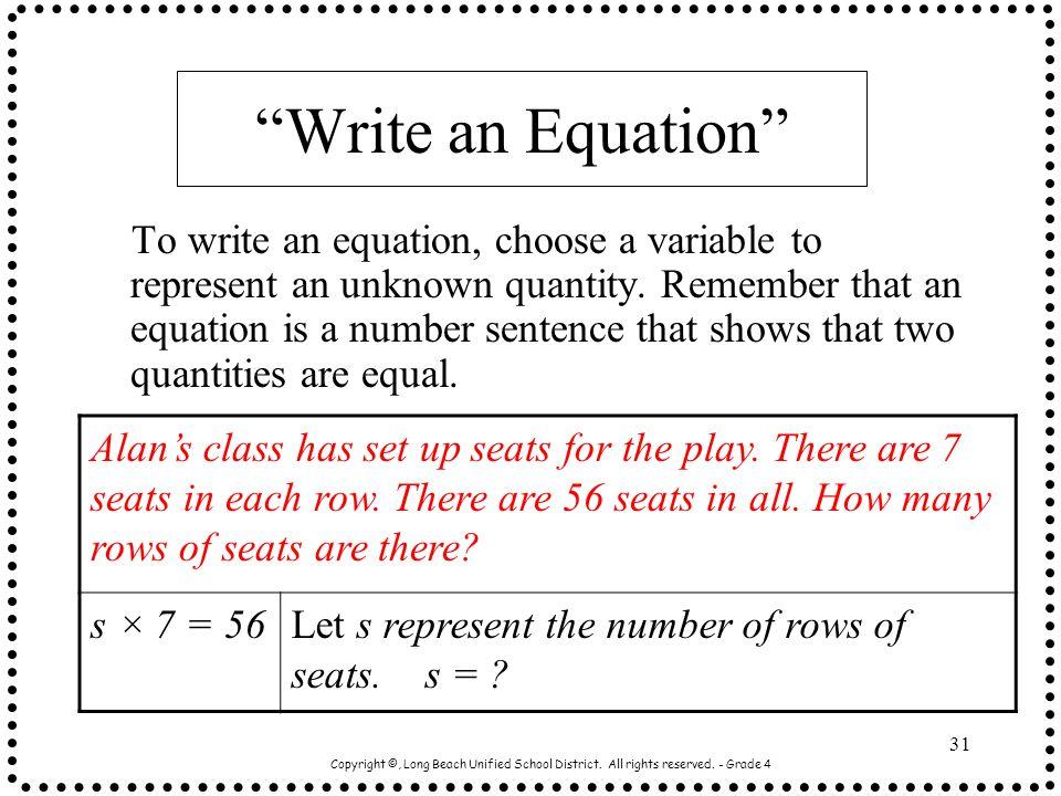 Write an Equation