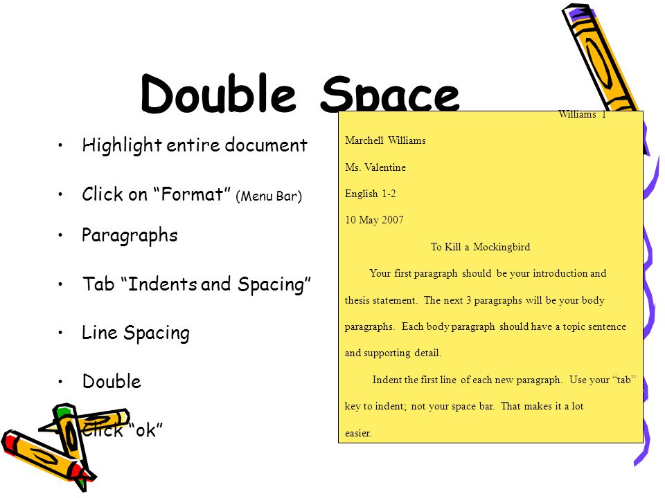 What is a paragraph break in a double spaced essay