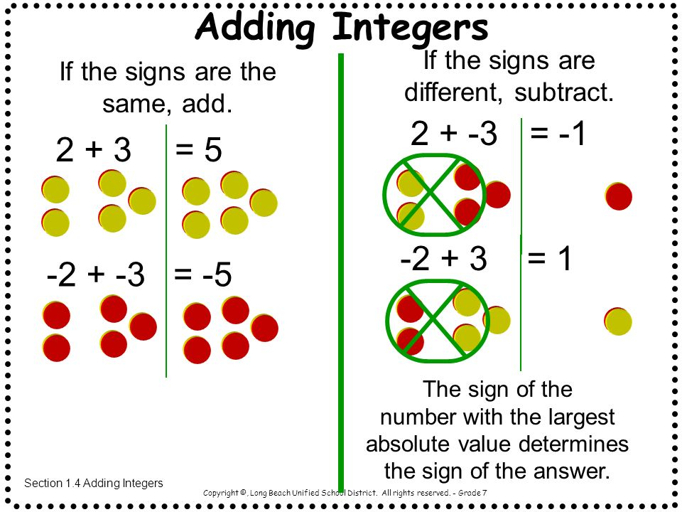 Adding Integers 2 + -3 = -1 2 + 3 = 5 -2 + 3 = 1 -2 + -3 = -5