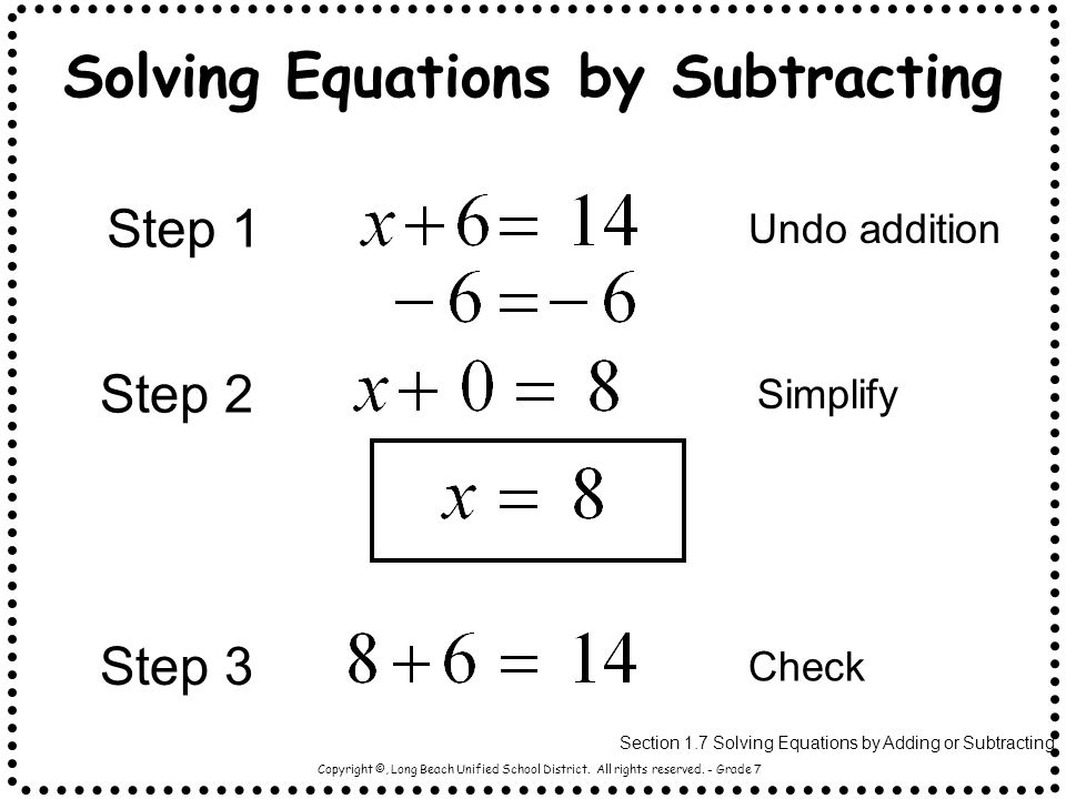 Solving Equations by Subtracting