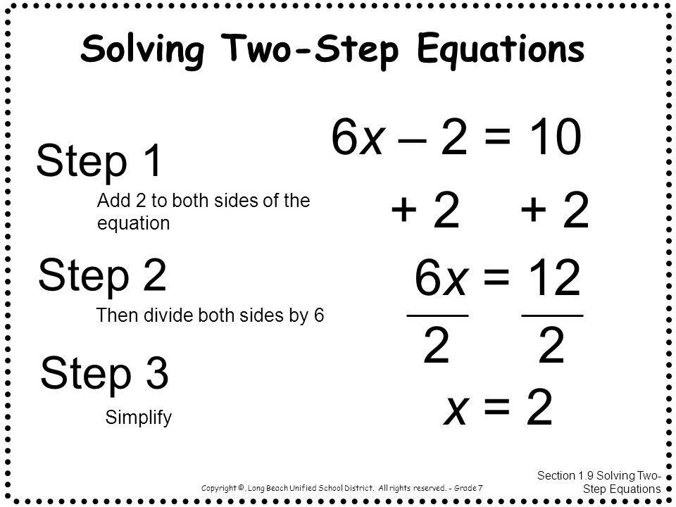 Solving Two-Step Equations