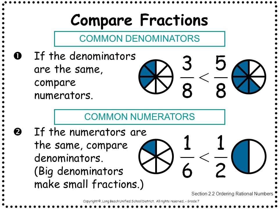 Compare Fractions COMMON DENOMINATORS. If the denominators are the same, compare numerators. COMMON NUMERATORS.