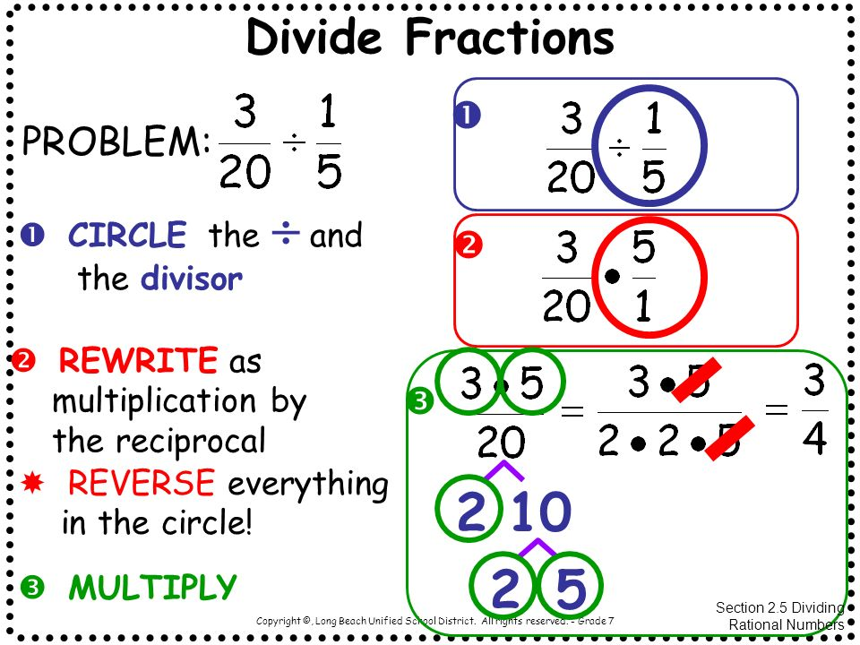 2 10 2 5 Divide Fractions  PROBLEM:  