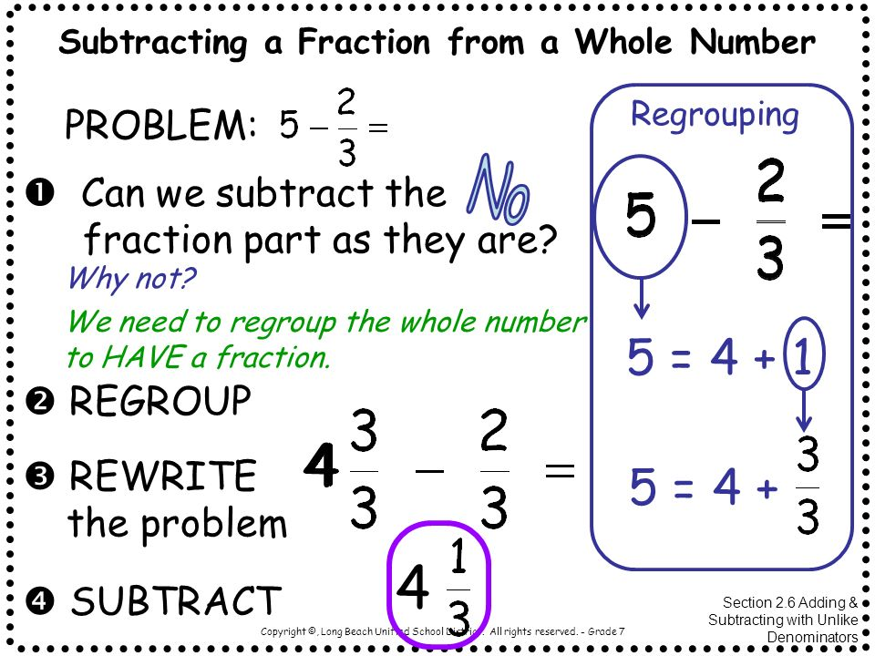Subtracting a Fraction from a Whole Number