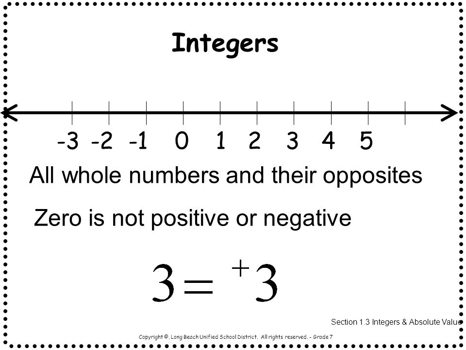 Section 1.3 Integers & Absolute Value