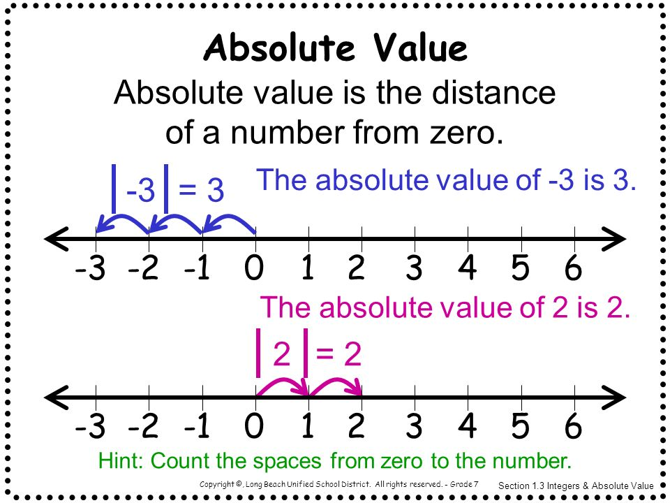 Absolute Value Absolute value is the distance of a number from zero.