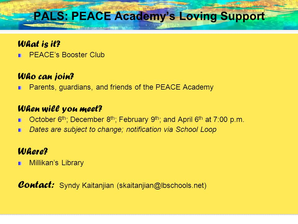PALS: PEACE Academy's Loving Support