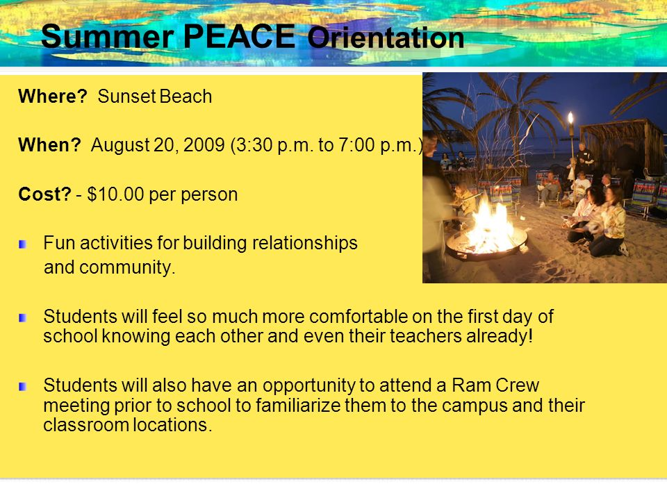 Summer PEACE Orientation