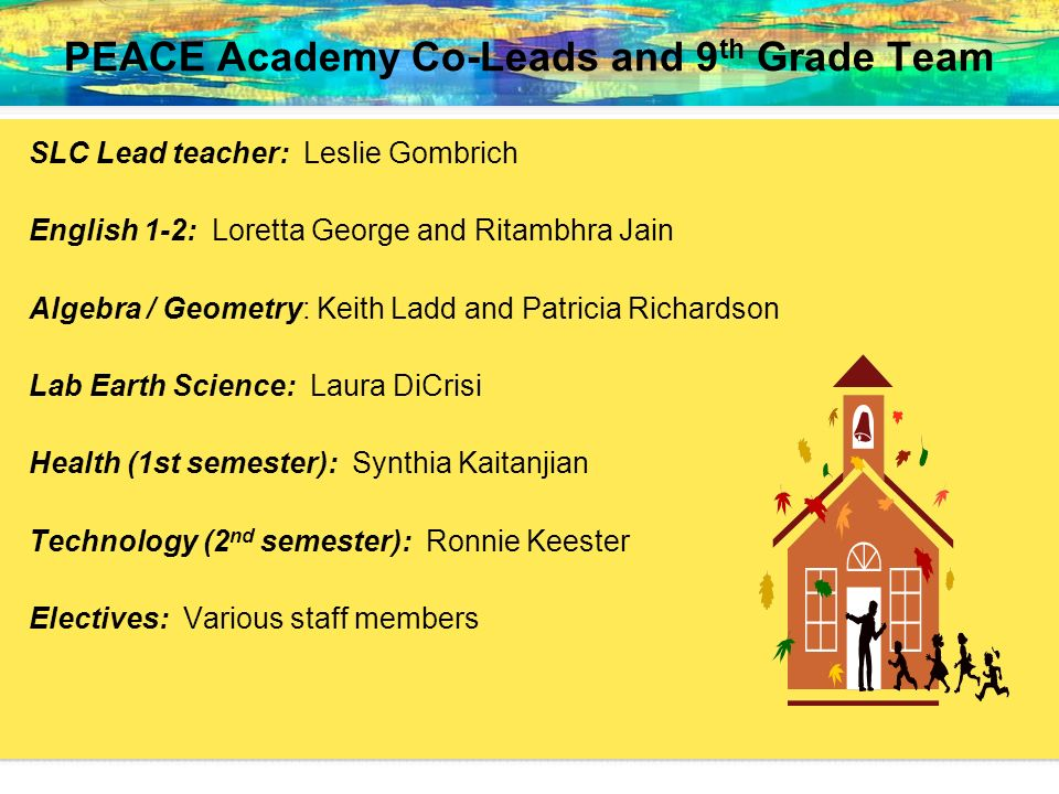 PEACE Academy Co-Leads and 9th Grade Team