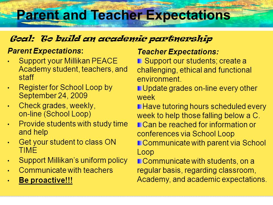 Parent and Teacher Expectations
