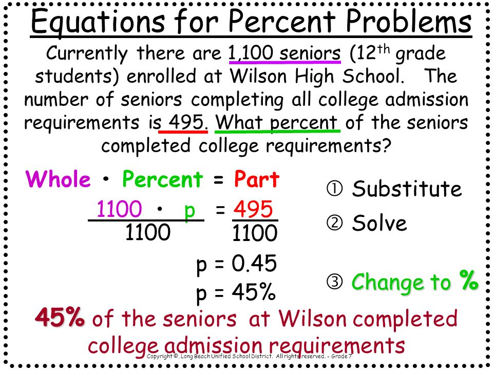 Equations for Percent Problems