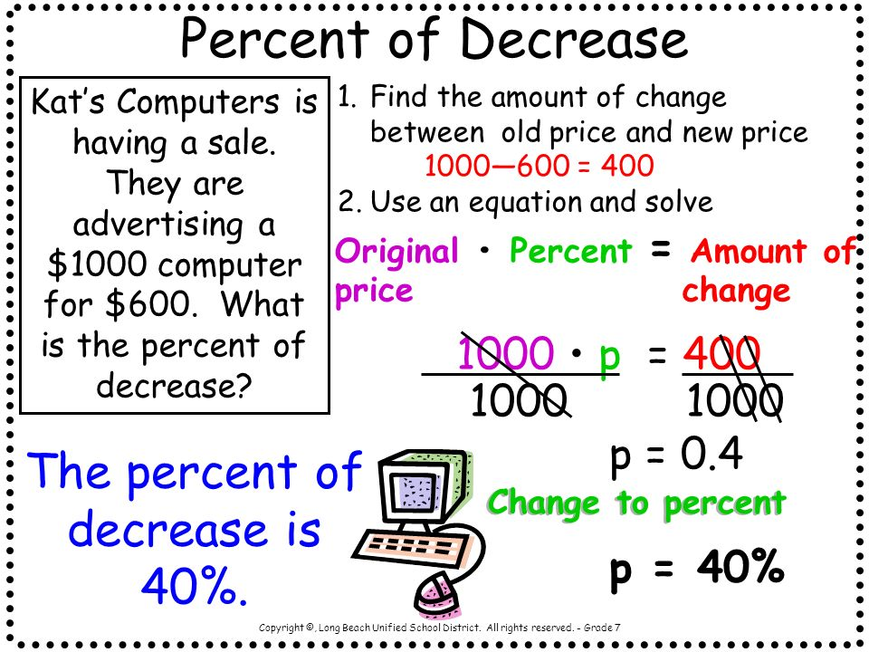 The percent of decrease is 40%.