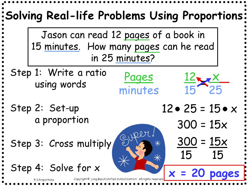Solving Real-life Problems Using Proportions