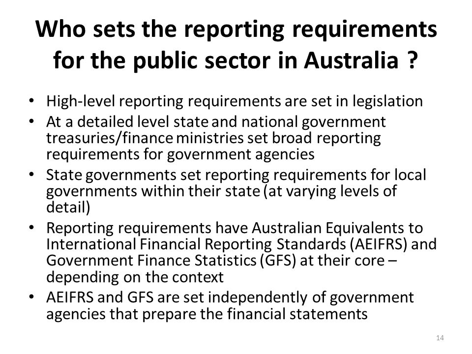 Who sets the reporting requirements for the public sector in Australia