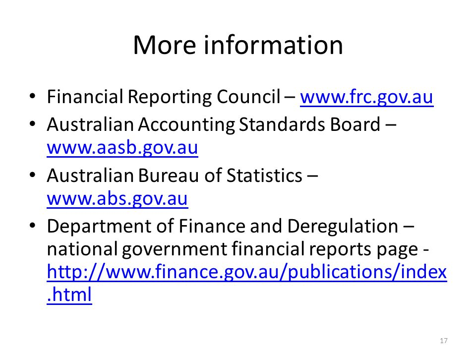 More information Financial Reporting Council – www.frc.gov.au