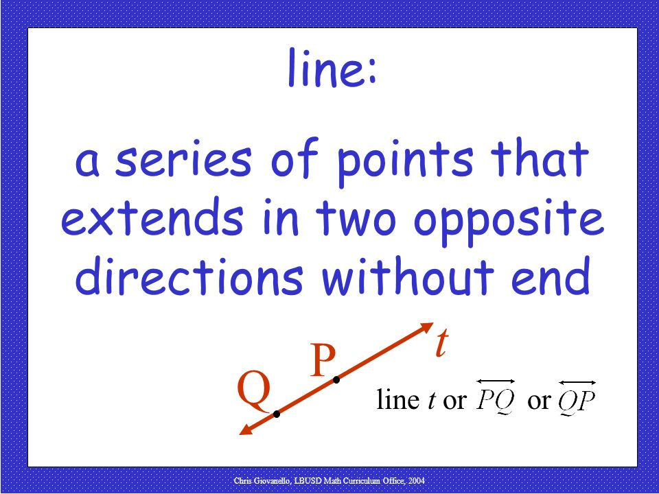 a series of points that extends in two opposite directions without end