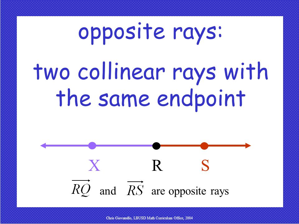 two collinear rays with the same endpoint