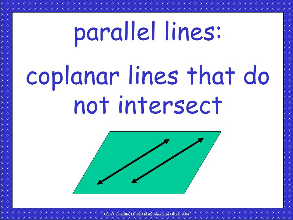 coplanar lines that do not intersect