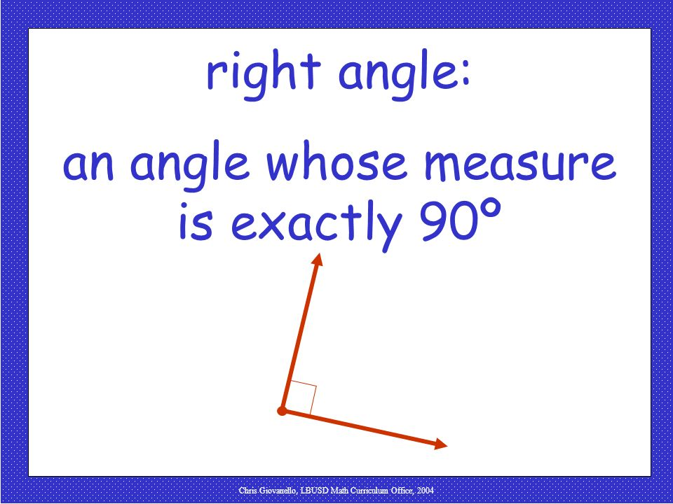 an angle whose measure is exactly 90º