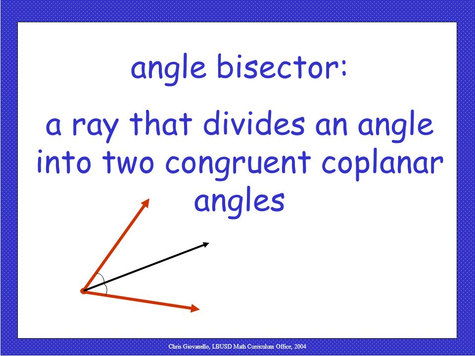 a ray that divides an angle into two congruent coplanar angles