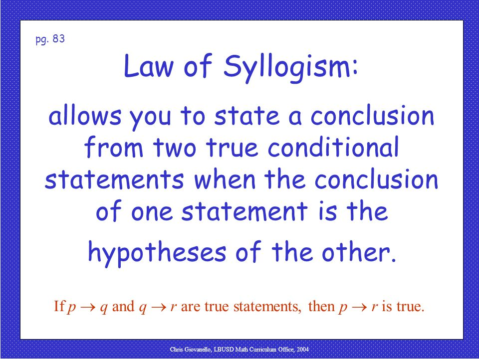 pg. 83 Law of Syllogism: