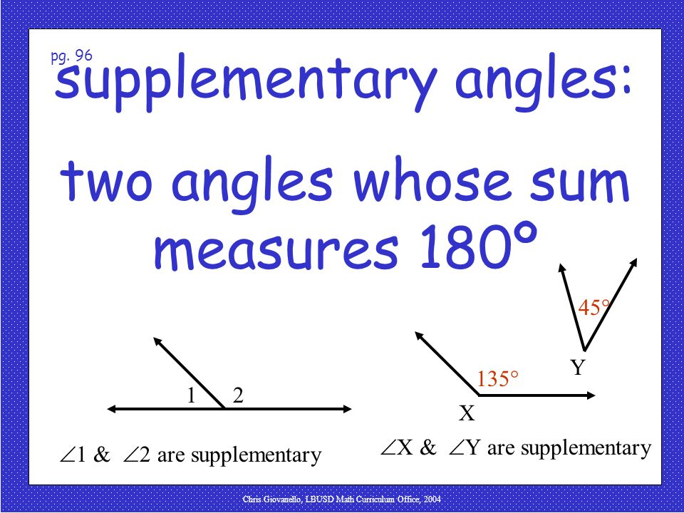 supplementary angles: two angles whose sum measures 180º