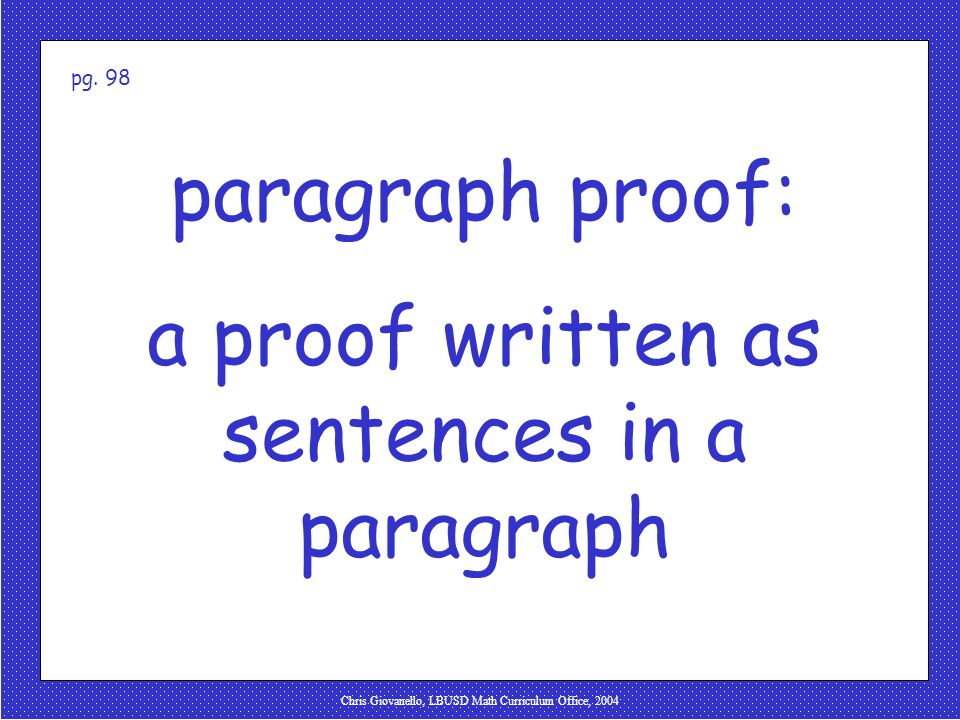 a proof written as sentences in a paragraph