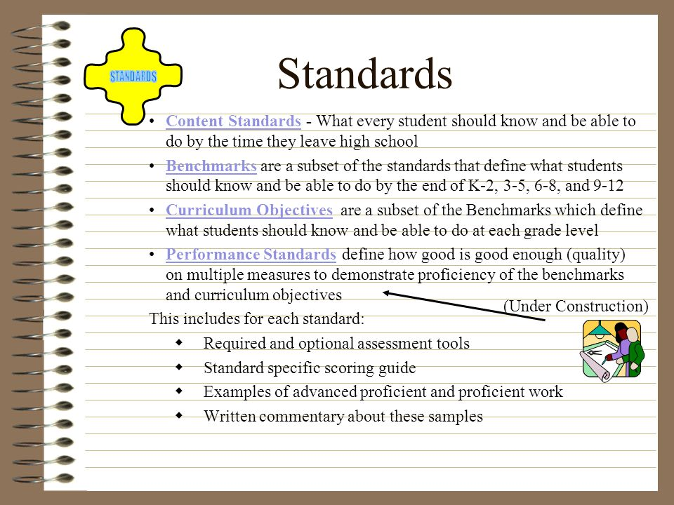 Standards Content Standards - What every student should know and be able to do by the time they leave high school.