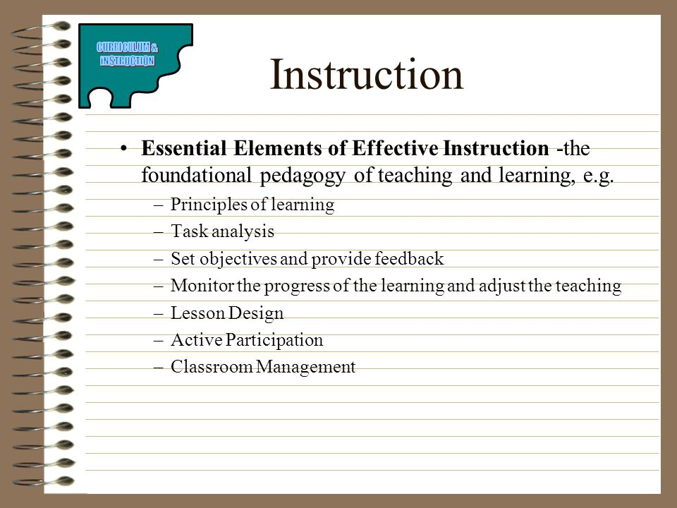 Instruction Essential Elements of Effective Instruction -the foundational pedagogy of teaching and learning, e.g.