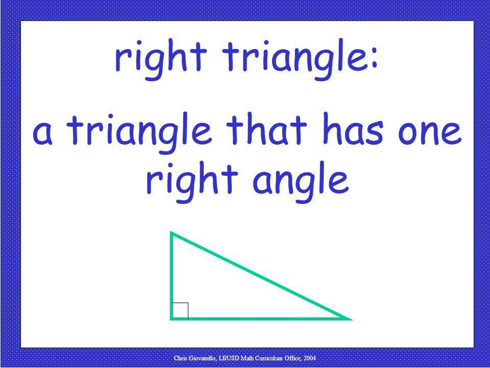 a triangle that has one right angle
