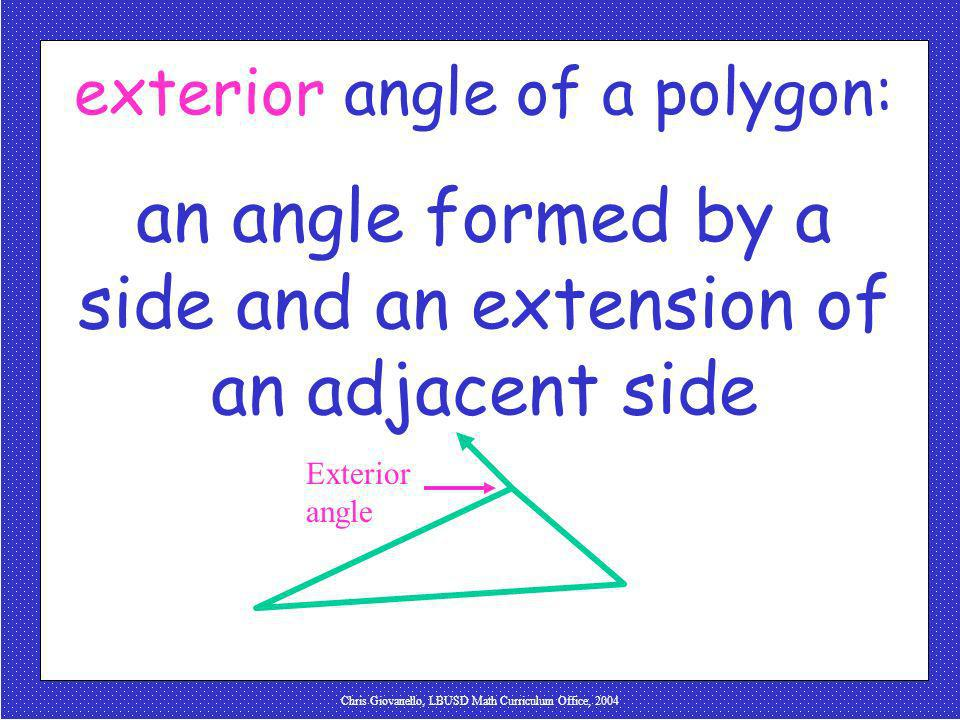 an angle formed by a side and an extension of an adjacent side