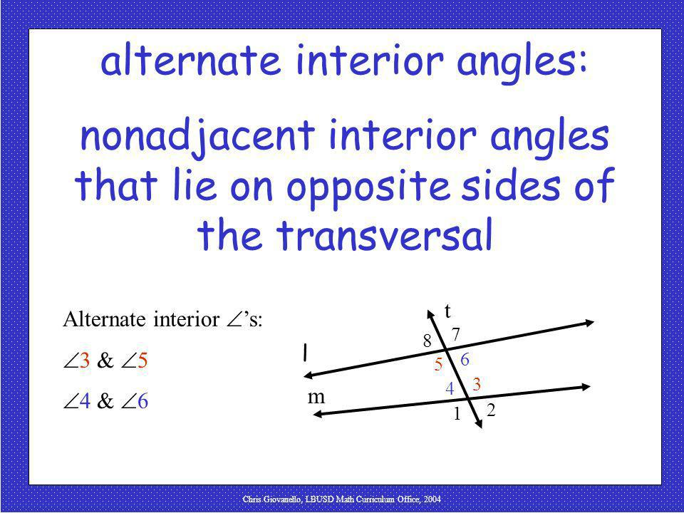 alternate interior angles: