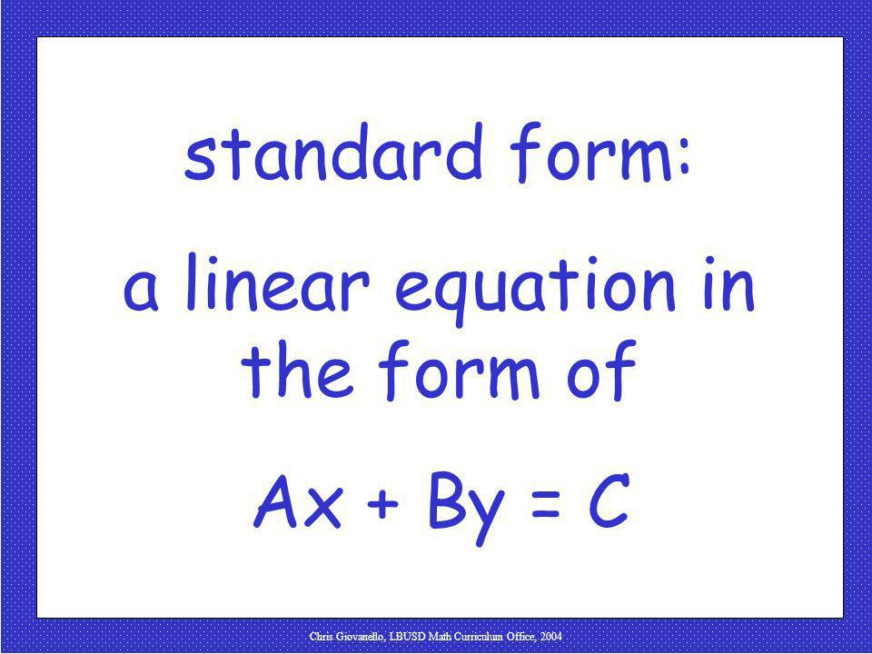 a linear equation in the form of