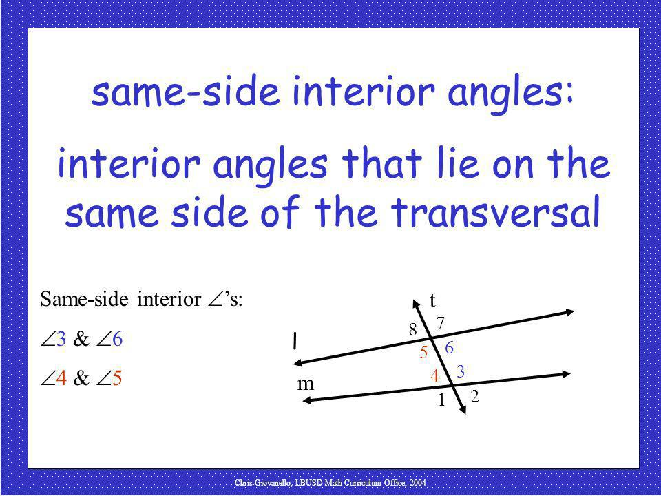 same-side interior angles: