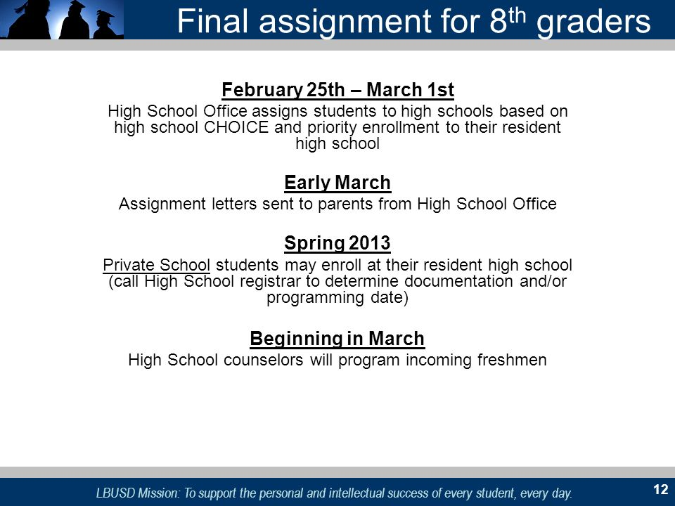 Final assignment for 8th graders