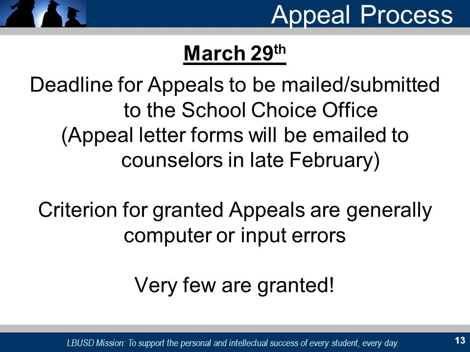 Appeal Process March 29th