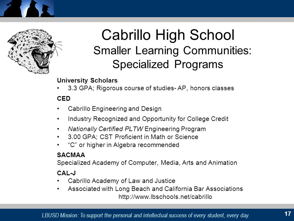 Cabrillo High School Smaller Learning Communities: Specialized Programs