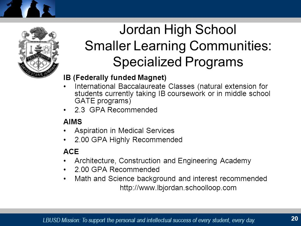 Jordan High School Smaller Learning Communities: Specialized Programs