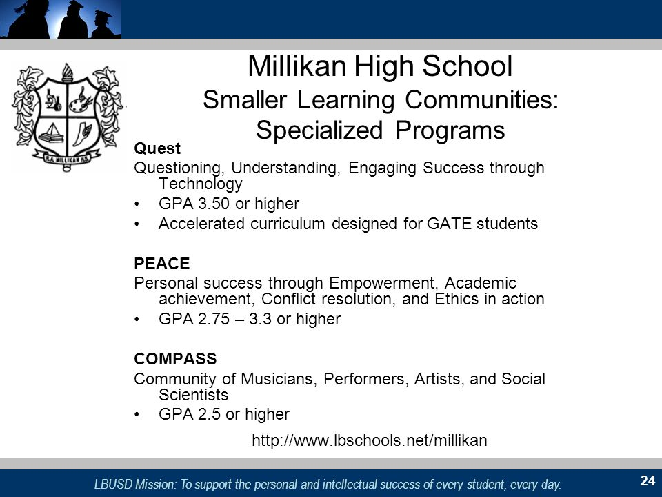 Millikan High School Smaller Learning Communities: Specialized Programs